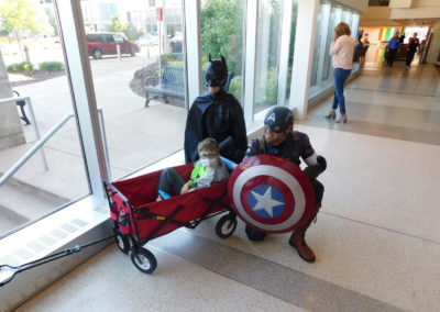 ANSI Super heros hanging out with kids at Illinois Childrens Hospital