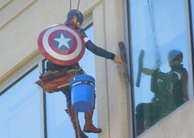 Captain American Cleaning Windows at Childrens Hospital